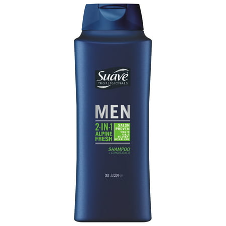 (2 Pack) Suave Men Alpine Fresh 2 in 1 Shampoo and Conditioner, 28