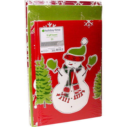 Holiday Time 10-Pack Christmas Gift Boxes, Traditional Snowman