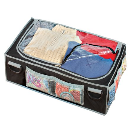 zippered clear top under bed storage bag with pockets. Black Bedroom Furniture Sets. Home Design Ideas
