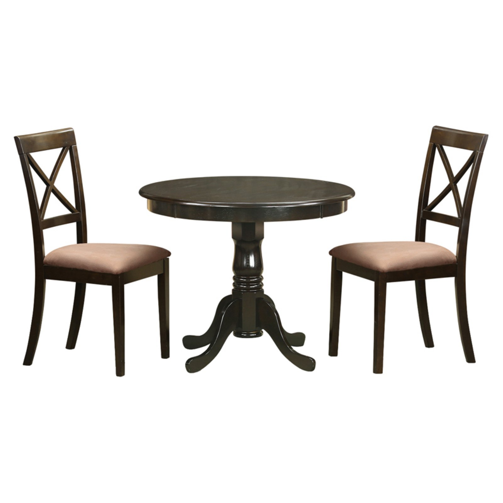 East West Furniture Antique 3 Piece Pedestal Round Dining Table Set with Boston Microfiber Seat Chairs