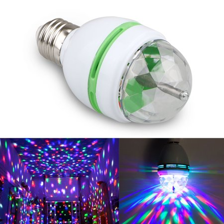 Disco Ball Lights, EEEkit 3W E27 RGB Crystal Ball Auto Rotating LED Stage Light Bulb Disco Party Bulb Lamp](Ball That Lights Up)