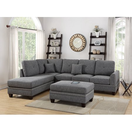 2-pcs Sectional Sofa Ash Black Modern Sectional Reversible Chaise Sofa  Pillows Cotton Blended Fabric Couch Living Room Furniture