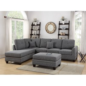 Outstanding Sectional Sofa Ash Black Sand Dual Tone Sectional Reversible Chaise Sofa Living Room Modern Metal Legs Couch In Cotton Blended Fabric Spiritservingveterans Wood Chair Design Ideas Spiritservingveteransorg