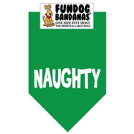 Fun Dog Bandana - Naughty (Christmas) - One Size Fits Most for Med to Lg Dogs, kelly green pet scarf