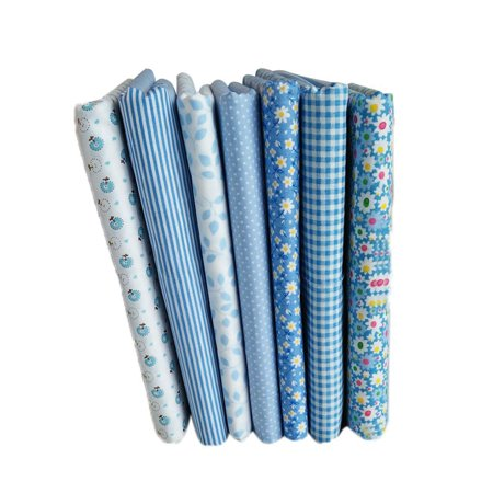 Scene Quilt Fabric - 7pcs Blue Series Cotton Fabric Flower Floral Pattern Sewing Textile Material for DIY Patchwork Bedding
