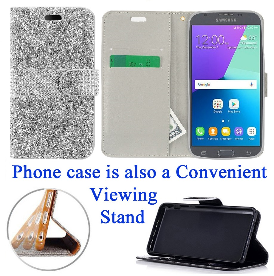 for Samsung Galaxy J3 2017 Emerge J3 PRIME Case Phone Case Hybrid Diamond Wallet Kick Stand Card Pocket Pouch Screen Flip Cover Cool Teal