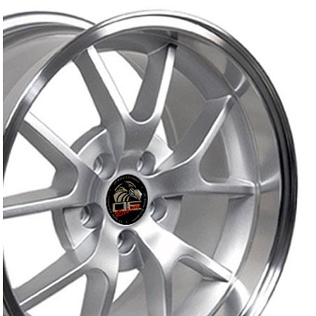 OE Wheels | 18 Inch Fits Ford Mustang 1994-2004 |FR500 Style FR05B Silver with Machined Lip | 18x10 Rim | REAR ONLY