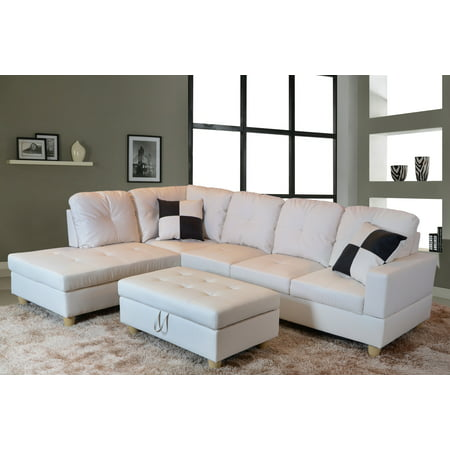 AYCP Furniture L-Shape Traditional Sectional Sofa Set with Ottoman, Left  Hand Facing Chaise, Faux Leather Upholstery Material, White Color, More ...