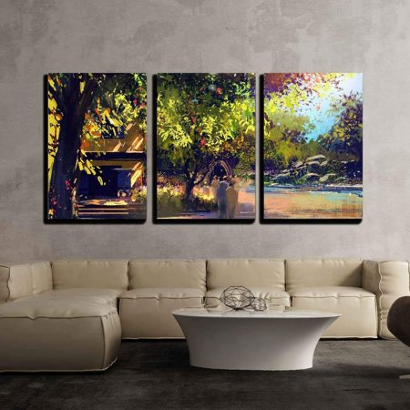 Wall26 3 Piece Canvas Wall Art Beautiful Landscape Paintingoutdoor Sceneryillustration Modern Home Decor Stretched And Framed Ready To Hang