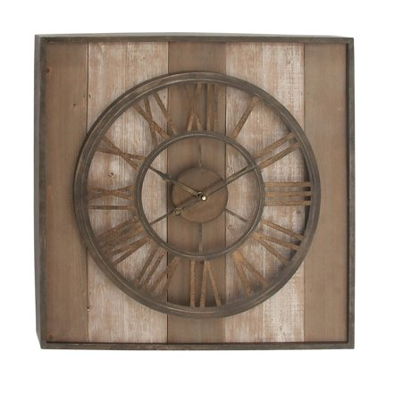 Decmode Farmhouse 26 x 26 inch slatted Chinese Fir wood and iron analog clock, Brown ()