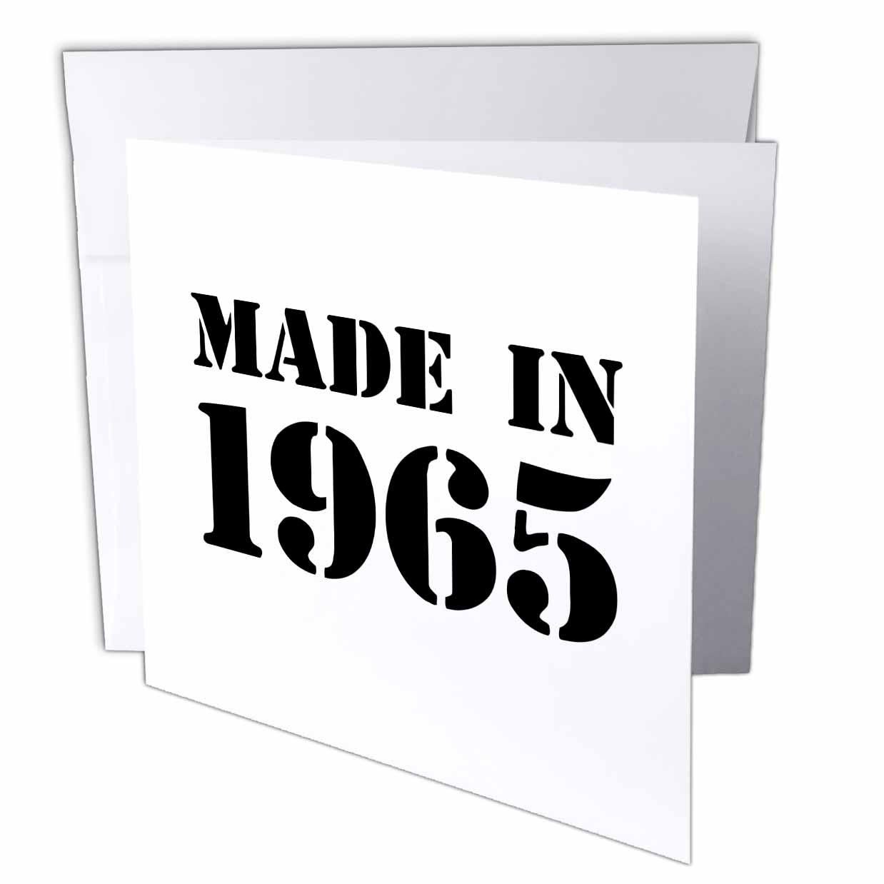 3dRose Made in 1965 - funny birthday birth year text - fun black bday stamp with year you were born - humor, Greeting Cards, 6 x 6 inches, set of 12