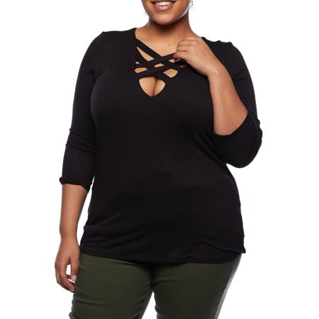Womens Plus Curvy Sexy Thick Criss Cross Front Long Sleeves T-Shirt Top B2550