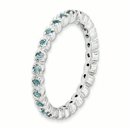 Sterling Silver Stackable Expressions Aquamarine Ring Size 5 - image 2 de 3