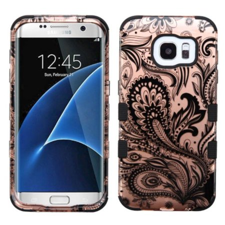 INSTEN  Rose Gold/ Black Phoenix Flower Tuff Hard PC/ Silicone Dual Layer Hybrid Case Cover For Samsung Galaxy S7 Edge