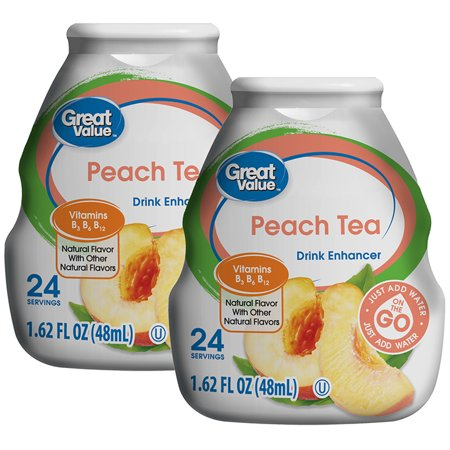 (10 Pack) Great Value Drink Enhancer, Peach Tea, 1.62 fl (The Best Tea To Drink Before Bed)