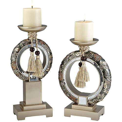 "Ore International Inc. 12/14"" Chrysanthemum Candle Holder Set"