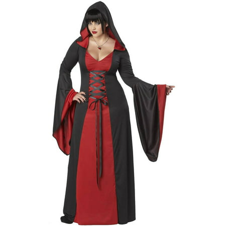 Deluxe Hooded Red Robe Women's Plus Size Adult Halloween Costume, Women's Plus