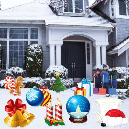 Christmas Snow Globes Yard Decoration - 8pcs Stakes Included ()