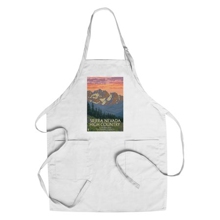 Sonora Spring - Sonora Pass, Tuolumne County - Sierra Nevada High Country - Spring Flowers - Lantern Press Artwork (Cotton/Polyester Chef's Apron)