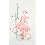 Thea Gouverneur Linen Counted Cross-Stitch Kit, Flamingoes