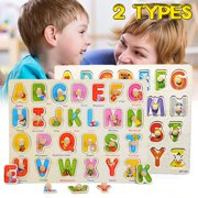 Wooden Uppercase Letters Block Puzzle Board Early Educational Developmental Toys
