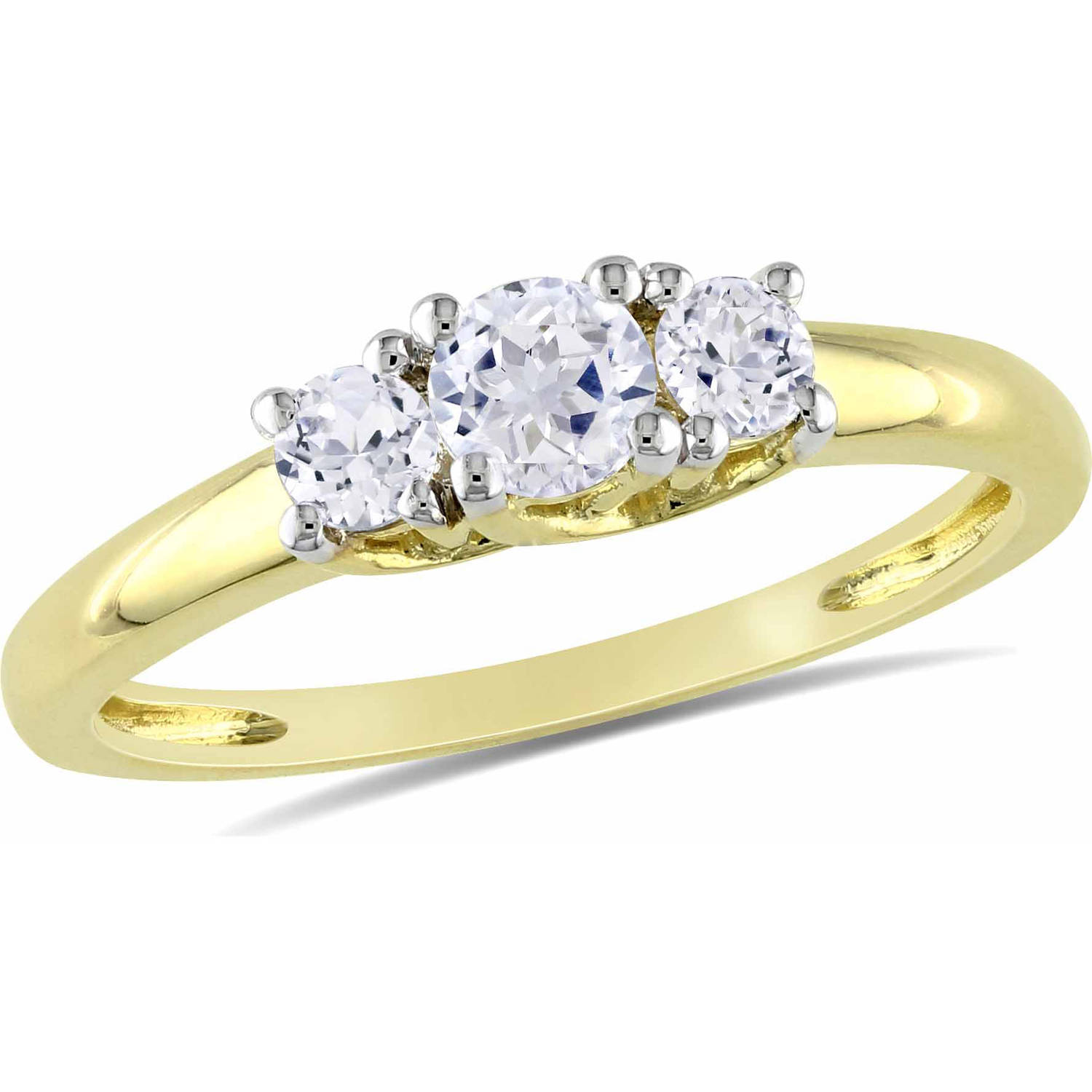 Miabella 5 8 Carat T.G.W. Created White Sapphire 10kt Yellow Gold Three Stone Engagement Ring by Delmar Manufacturing LLC
