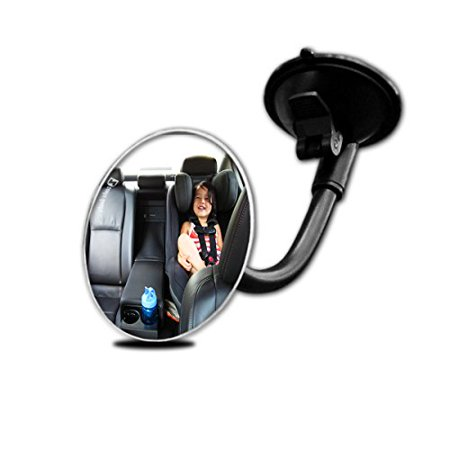 Zento Deals Adjustable Blind Spot Round Convex Mirror With Suction Cup and Flexible Arm- Traffic and Baby Back Viewer