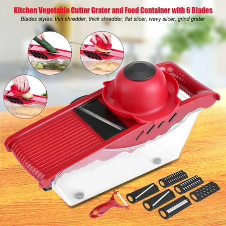 5 Interchangeable Blades Kitchen Mandoline Slicer Vegetable Cutter Potato Grater and Food Container ()