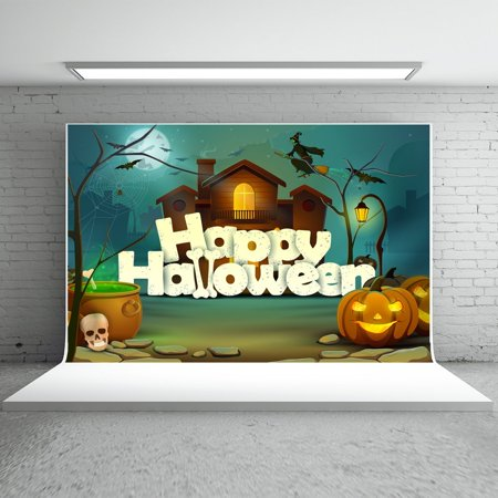 MOHome Polyster 7x5ft Happy Halloween Backdrops Photography Cartoon Castle Pumpkins Witch Human Skeleton Photo Studio Background for Children for $<!---->