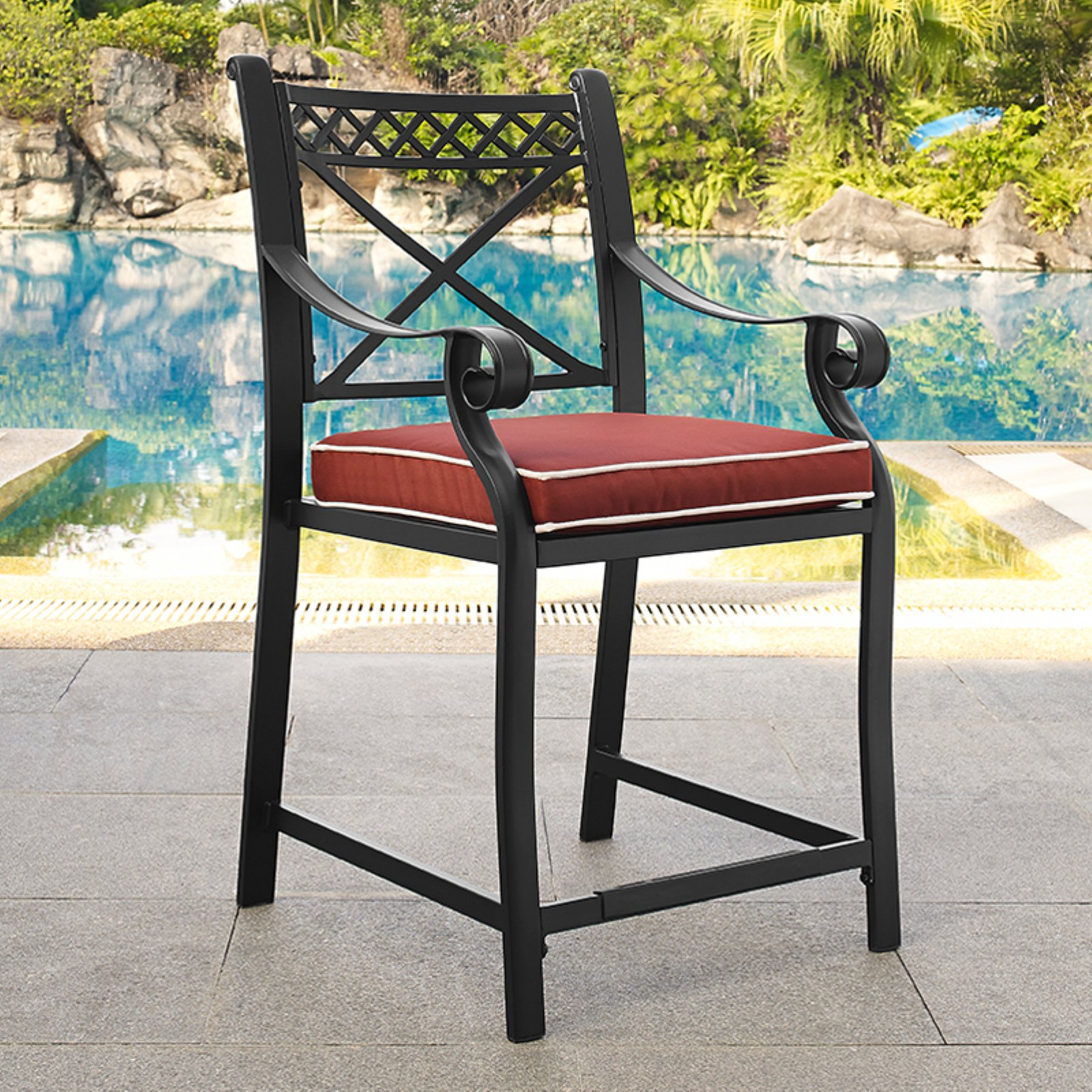 Crosley Portofino Cast Aluminum Bar Height Stools, Set of 2, Charcoal Black Finish with Sangria Cushions