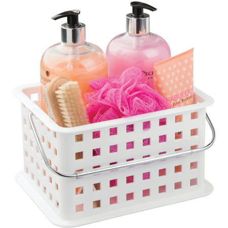 White Wood Caddy - Mainstays Bathroom Shower Caddy Tote Organizer Basket, Available in Multiple Colors