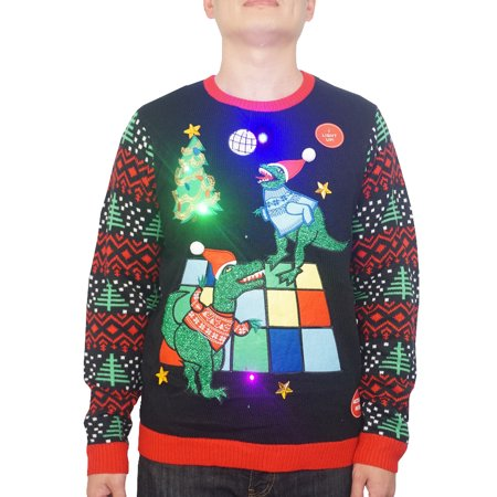 Holiday Men's Light Up Dinosaur Dance Party Ugly Christmas Sweater, Up to size - Dinosaur Sweater For Adults