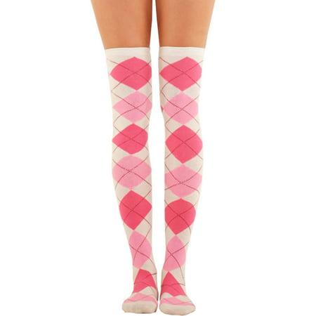 LAVRA Women's Over The Knee Argyle Socks