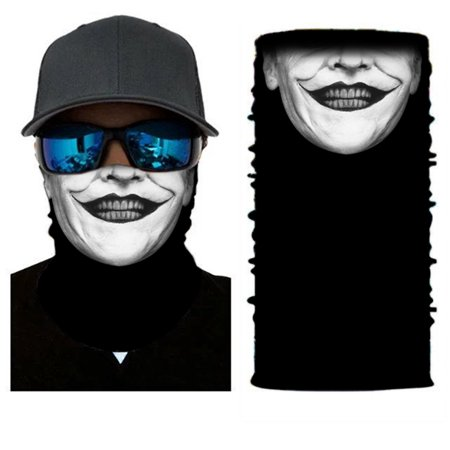 Moretek 3D Skull Neck Scarf Face Shield Mask, Outdoor Seamless Head-wear Motorcycle Wrap Scarf Halloween Mask