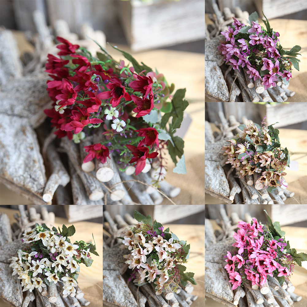 Girl12Queen 25 Heads/1 Bouquet Artificial Flowers Plant China Aster Simulation Wedding Decor