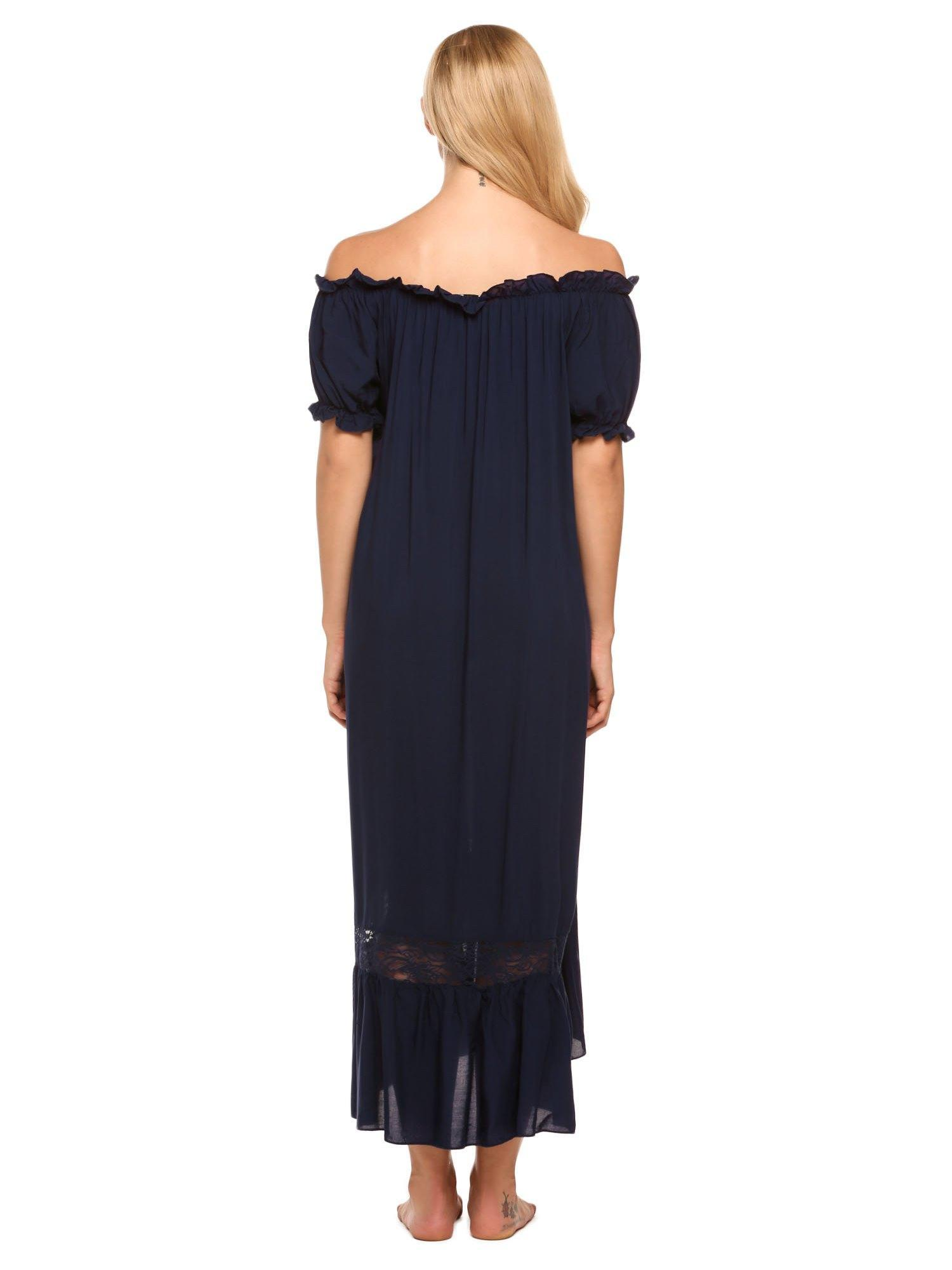29a9788f6e43d Ekouaer - Ekouaer Women Comfy Ruffled Nightgown Lounge Sleepwear Long Maxi  Dress Off Shoulder Short Sleeve ANGHE - Walmart.com