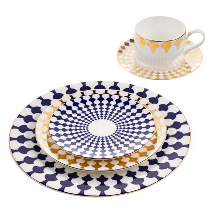 Florentine Bone China - B. By Brandie 5 Piece Fine Bone China Dinnerware Set Dishes Table Place Setting Plates Teacup
