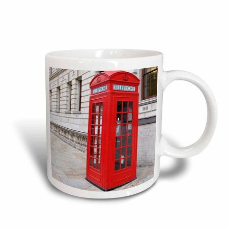 3dRose Londons Famous Red Phone Booths, Ceramic Mug, 11-ounce