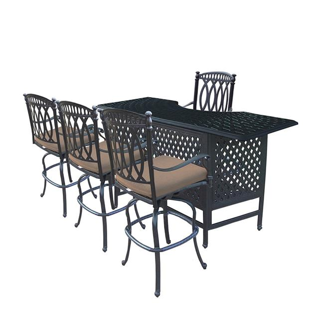 Oakland Living 7719BT-7219BS4-D54-9-AB Morocco Aluminium Party Pub Table Set with Inner Shelf & 4 Swivel Bar Stools 5... by Oakland Living Corporation