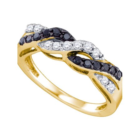 10kt Yellow Gold Womens Round Black Color Enhanced Diamond Crossover Band Ring 1/2 Cttw - image 1 de 1