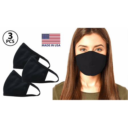 (Pack of 3) Fashion Washable Reusable Soft Double Layers Cotton Face Covering Mask Adults Black - Made In USA