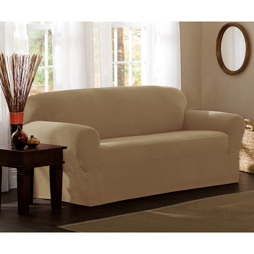 Maytex Stretch Reeves 1 Piece Sofa Furniture Cover Slipcover, Natural