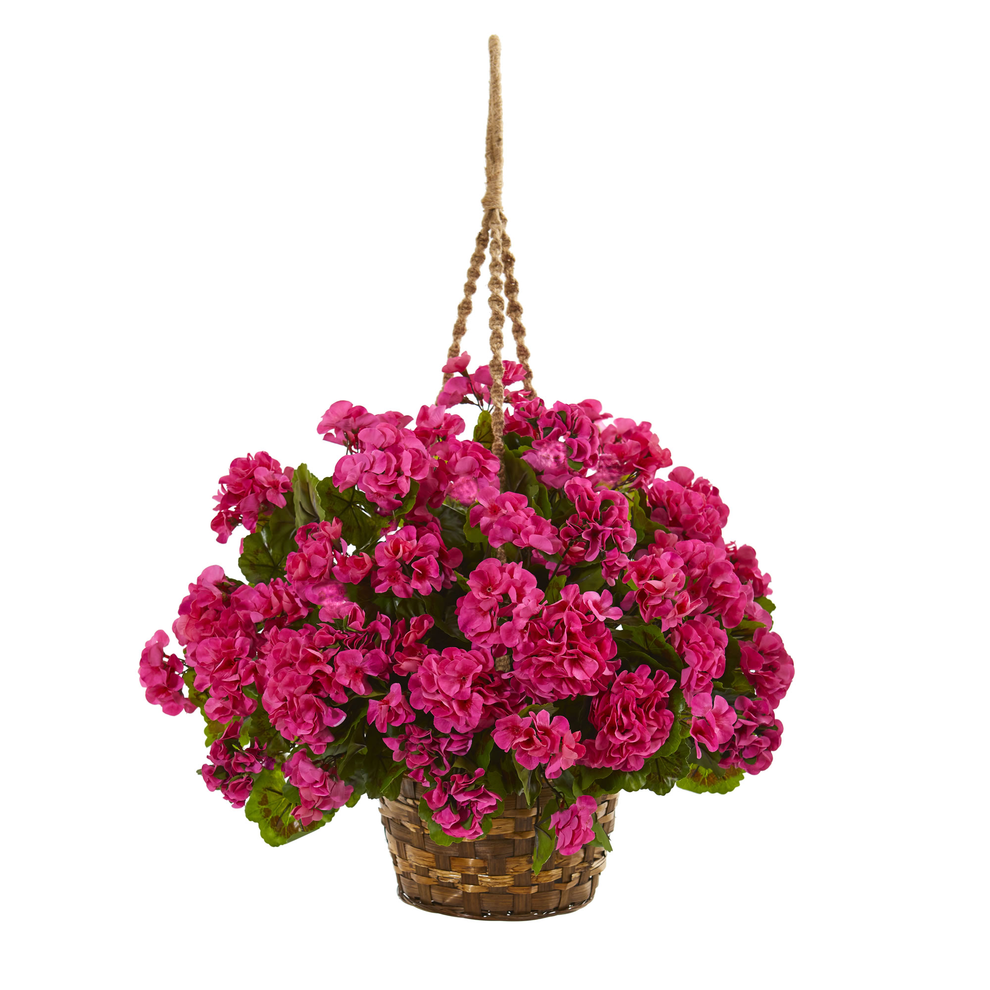 nearly natural geranium hanging basket artificial plant uv resistant indoor outdoor. Black Bedroom Furniture Sets. Home Design Ideas