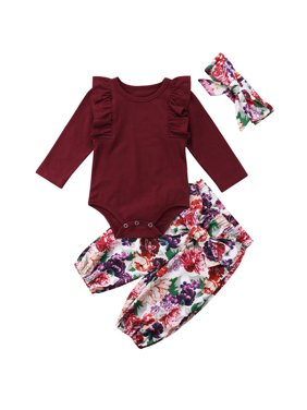 2d92b51be6e3 Product Image Baby Girls Long Sleeve Frilled Romper Jumpsuit With Floral  Pant And Headband 9-12 Months