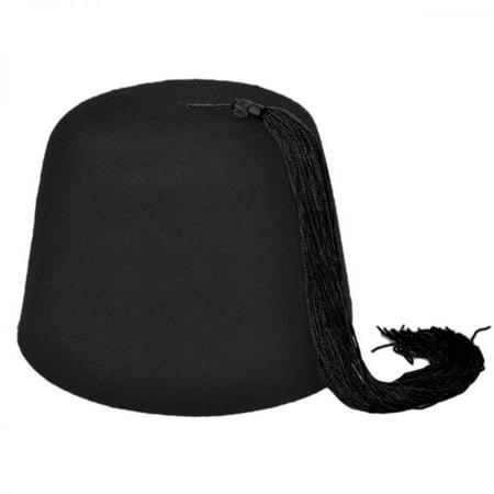 Black Fez with Black Tassel - XXL - Black