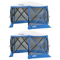 Clam Quick Set Escape Sport Pop Up Canopy Tailgate Tent, Blue/White (2 Pack)