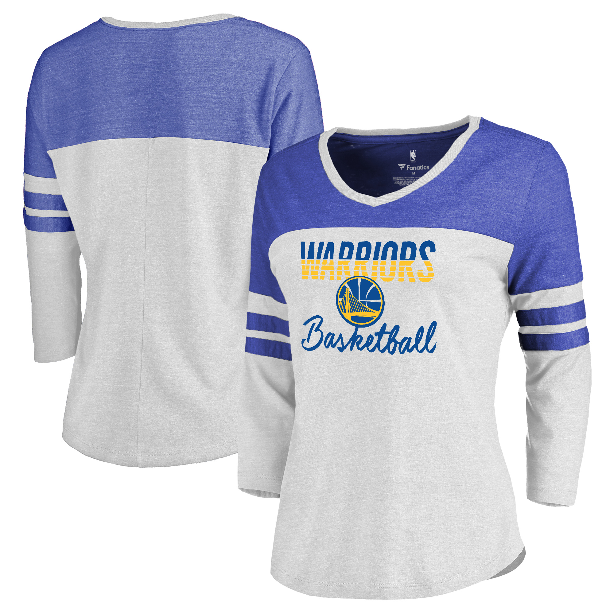 Golden State Warriors Fanatics Branded Women's Plus Size Free Line Color Block 3/4-Sleeve Tri-Blend T-Shirt - White/Royal