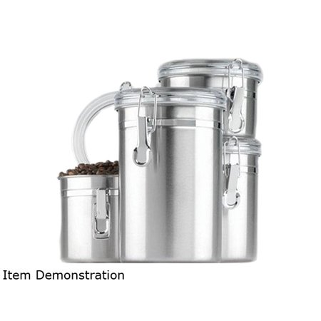 Anchor Hocking 24954 4-Piece Stainless Clamp Canister Set w/ Clear Lid ()
