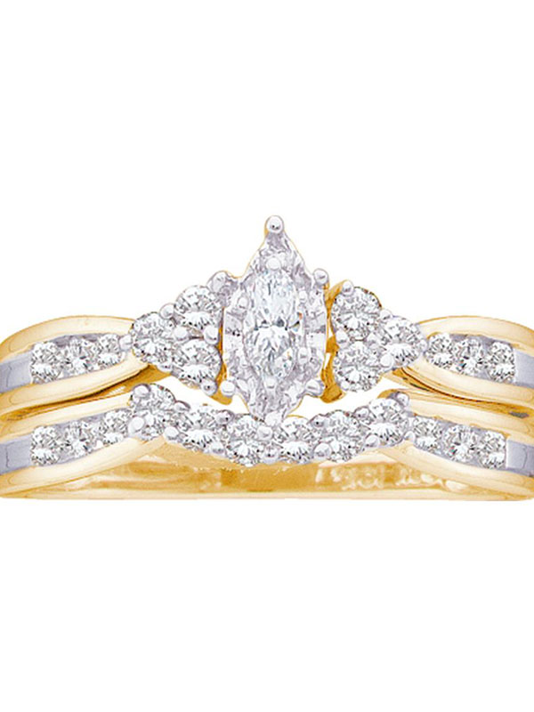 14kt Yellow Gold Womens Marquise Diamond Bridal Wedding Engagement Ring Band Set 1 2 Cttw by GND