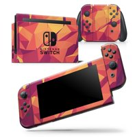 Neon Pink and Orange Geometric Shapes - Skin Wrap Decal Compatible with the Nintendo Switch Console + Dock + JoyCons Bundle